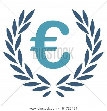Euro Laurel Wreath icon. Vector style is bicolor flat iconic symbol, cyan and blue colors, white background.