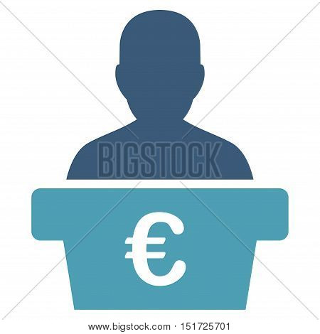 Euro Politician icon. Vector style is bicolor flat iconic symbol, cyan and blue colors, white background.