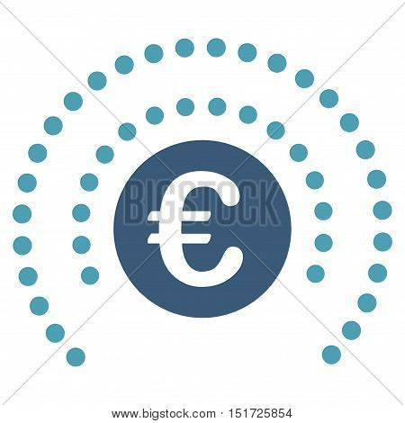Euro Shield Sphere icon. Vector style is bicolor flat iconic symbol, cyan and blue colors, white background.