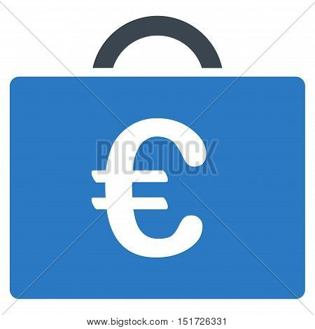 Euro Bookkeeping Case icon. Vector style is bicolor flat iconic symbol, smooth blue colors, white background.
