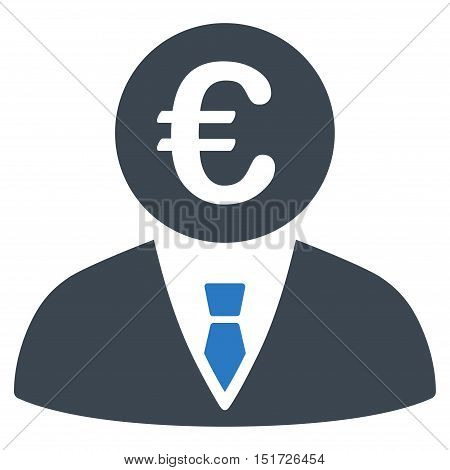 Euro Clerk icon. Vector style is bicolor flat iconic symbol, smooth blue colors, white background.