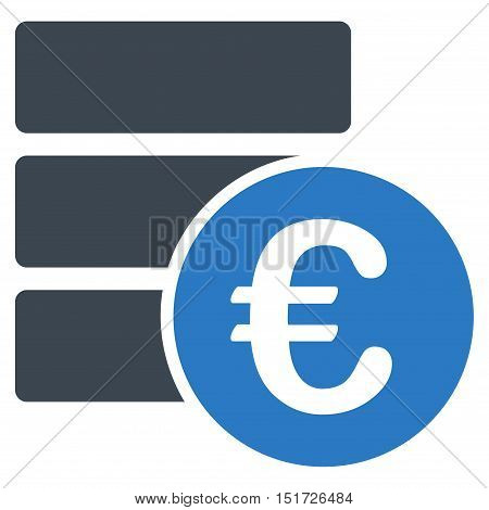 Euro Database icon. Vector style is bicolor flat iconic symbol, smooth blue colors, white background.