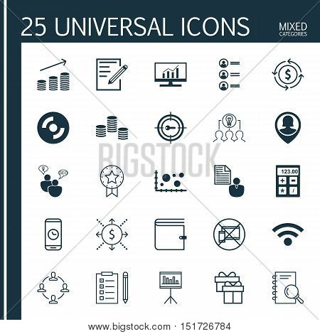 Set Of 25 Universal Icons On Money Recycle, Money, Presentation And More Topics. Vector Icon Set Inc