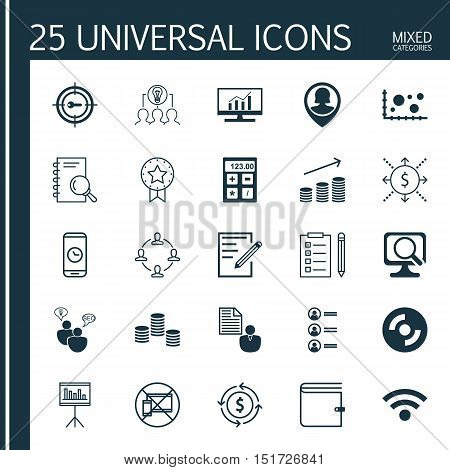 Set Of 25 Universal Icons On Forbidden Mobile, Blank Cd, Analysis And More Topics. Vector Icon Set I