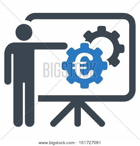 Euro Industrial Project Presentation icon. Vector style is bicolor flat iconic symbol, smooth blue colors, white background.
