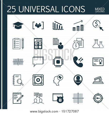 Set Of 25 Universal Icons On Human Mind, Sinus Graph, Report And More Topics. Vector Icon Set Includ