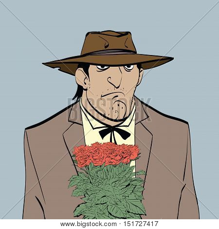 Retro male Hispanic with a bouquet of flowers, hand drawn line art illustration. Latin gentleman