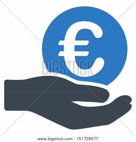 Euro Salary icon. Vector style is bicolor flat iconic symbol, smooth blue colors, white background.