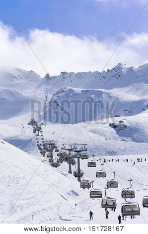 Ski lifts pistes and skiers in Alpine ski resort Obergurgl Hochgurgl in Tirol, Austria