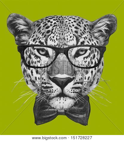 Hand drawn portrait of Leopard with glasses and bow tie.