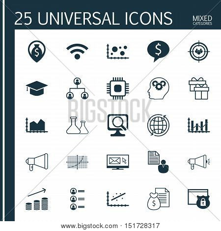 Set Of 25 Universal Icons On Business Deal, Raise Diagram, Report And More Topics. Vector Icon Set I