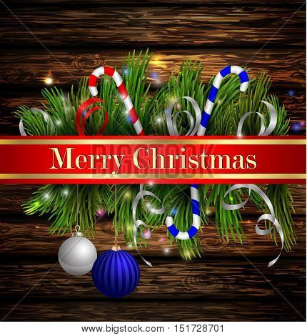 Christmas background with red ribbon and lights on a dark rustic rwooden wall