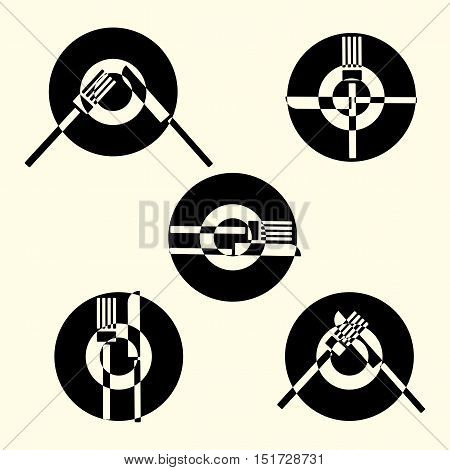 Dining etiquette, forks and knifes signals. Vector illustration