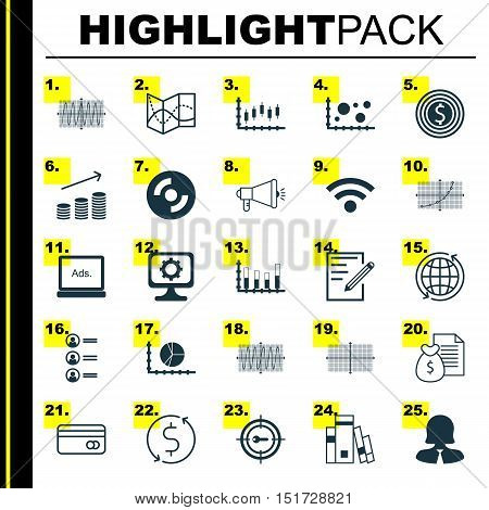 Set Of 25 Universal Icons On Coins Growth, Report, Circle Graph And More Topics. Vector Icon Set Inc