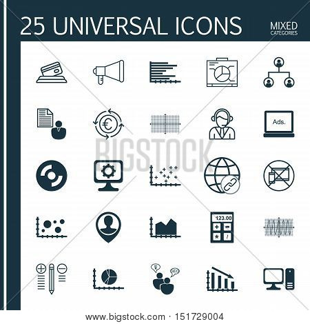 Set Of 25 Universal Icons On Credit Card, Report, Square Diagram And More Topics. Vector Icon Set In