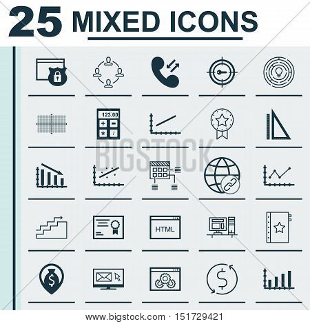 Set Of 25 Universal Icons On Coding, Present Badge, Collaboration And More Topics. Vector Icon Set I