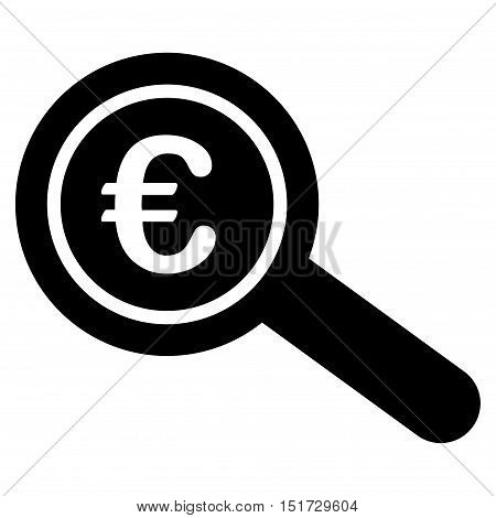 Euro Financial Audit icon. Vector style is flat iconic symbol, black color, white background.