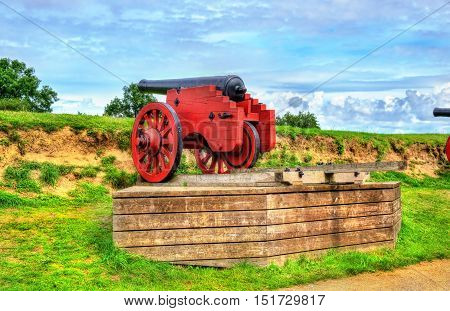 Old cannon at Kronborg Castle in Helsingor - Denmark