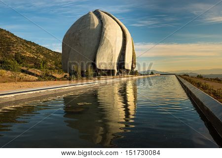 Santiago Region Metropolitana Chile - October 13 2016: After 6 years of construction today is inaugurated and opened to public the eighth Bahá'í temple in the world and first in South America located at the foot of the Andes mountain Range.