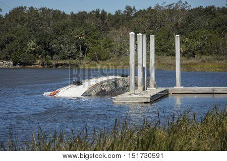 Overturned fishing boat from Hurricane Matthew in South Carolina