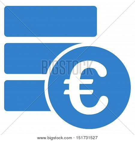 Euro Database icon. Vector style is flat iconic symbol, cobalt color, white background.