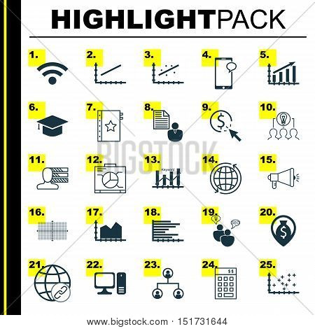 Set Of 25 Universal Icons On Ppc, Connectivity, Sequence Graphics And More Topics. Vector Icon Set I