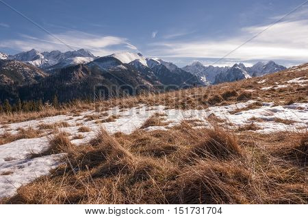 Winter landscape on the mountain glade. Tatry