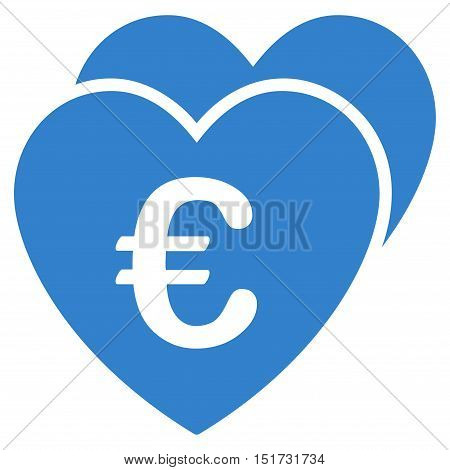 Euro Favorites Hearts icon. Vector style is flat iconic symbol, cobalt color, white background.