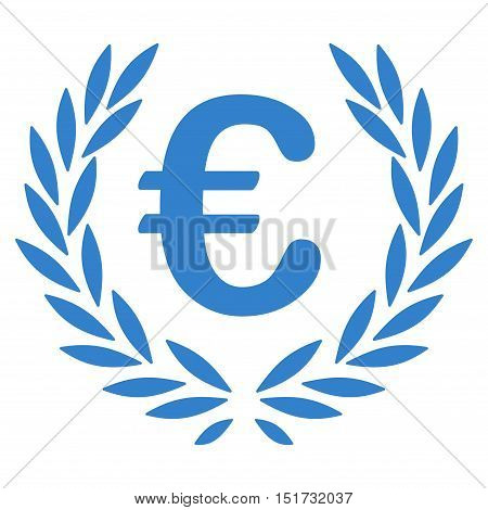 Euro Laurel Wreath icon. Vector style is flat iconic symbol, cobalt color, white background.