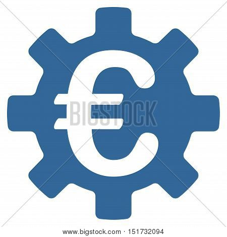 Euro Machinery Gear icon. Vector style is flat iconic symbol, cobalt color, white background.