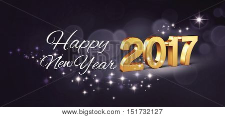 Gold 2017 New year type and greetings on a glittering black background - 3D illustration