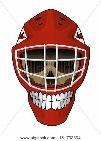 Vector illustration. Hockey goalie helmet with a toothy smile and evil scull inside isolated on white background. Design element for your stickers, card, posters, emblems, web design