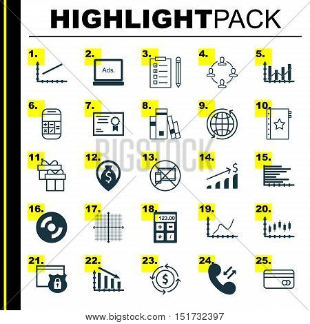 Set Of 25 Universal Icons On Achievement Graph, Library, Reminder And More Topics. Vector Icon Set I