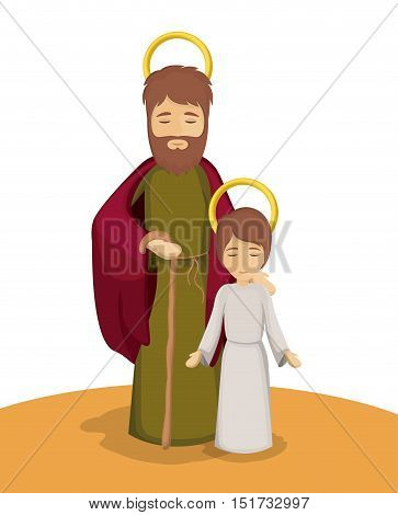 Jesus and joseph cartoon icon. Holy family and merry christmas season theme. Colorful design. Vector illustration