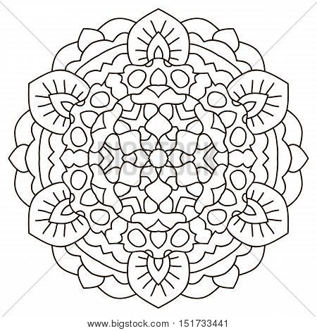 Vector mandala. Round symmetrical pattern. Coloring book for adults.