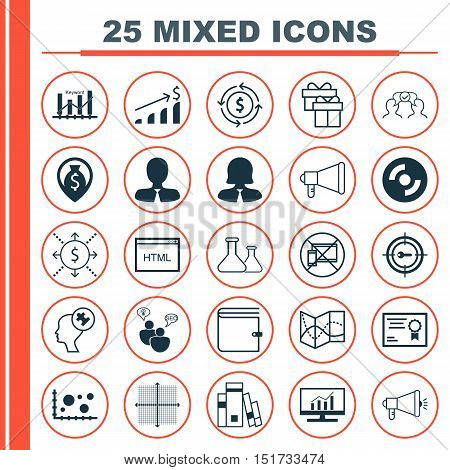 Set Of 25 Universal Icons On Money, Business Woman, Keyword Optimisation And More Topics. Vector Ico