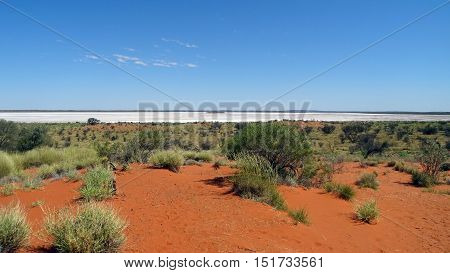 View of the Outback, Northern Territory, Australia, with a dried salt lake.