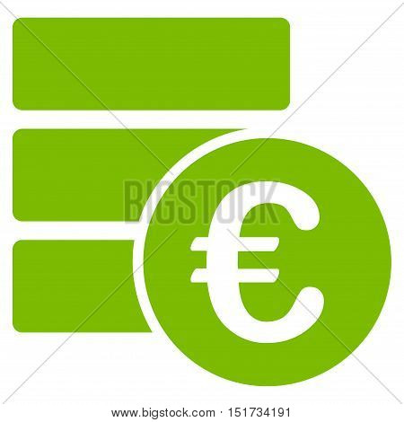 Euro Database icon. Vector style is flat iconic symbol, eco green color, white background.