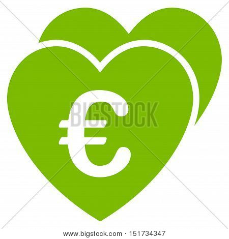 Euro Favorites Hearts icon. Vector style is flat iconic symbol, eco green color, white background.