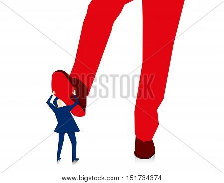 Manager Businessman Stepping On Employee Isolated On White. Concept Business Illustration. Vector Fl