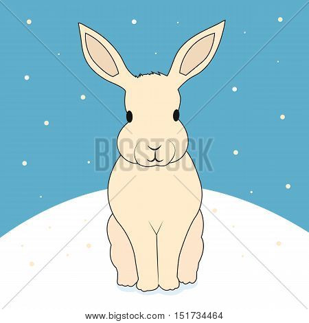 Christmas snow Bunny sitting under falling snow in winter. Greeting card 2017