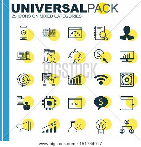 Set Of 25 Universal Icons On Schedule, Call Duration, Profit Graph And More Topics. Vector Icon Set