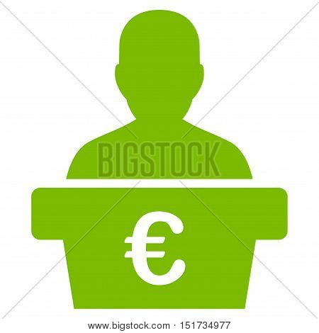 Euro Politician icon. Vector style is flat iconic symbol, eco green color, white background.