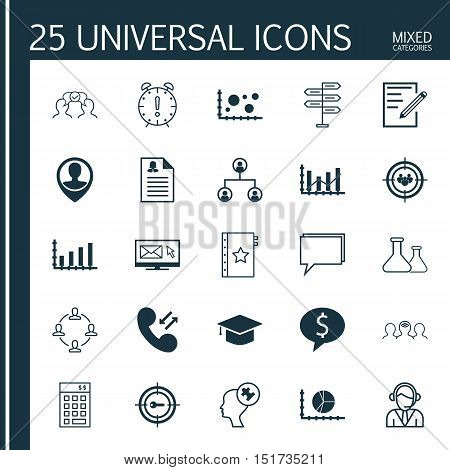 Set Of 25 Universal Icons On Investment, Business Deal, Keyword Marketing And More Topics. Vector Ic
