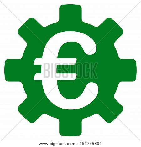 Euro Machinery Gear icon. Vector style is flat iconic symbol, green color, white background.