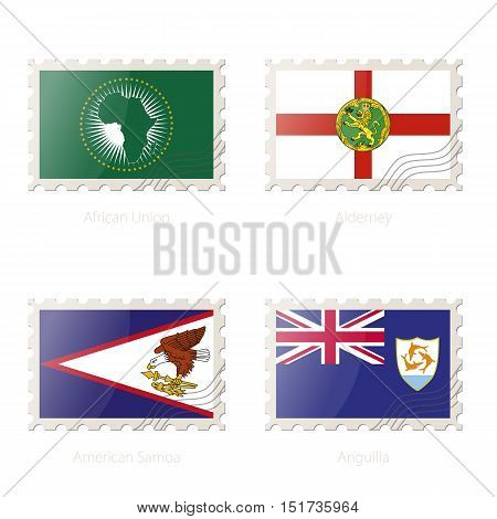 Postage Stamp With The Image Of African Union, Alderney, American Samoa, Anguilla Flag.