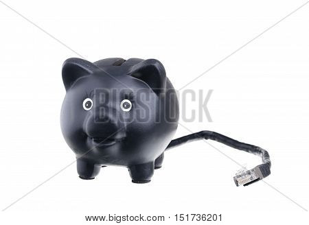 An Internet bank in the form of a piggy bank with a network cable on white background showing the modern banking business with self-service.