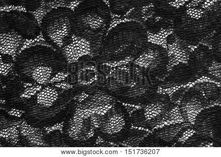 Vintage black lace closeup as a background
