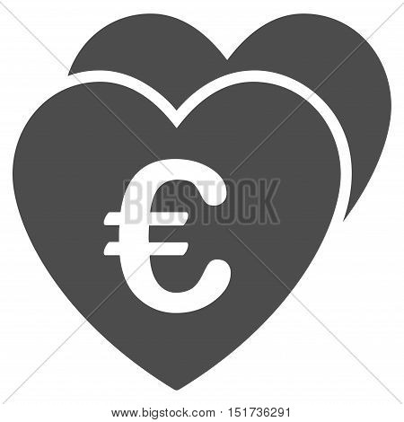 Euro Favorites Hearts icon. Vector style is flat iconic symbol, gray color, white background.