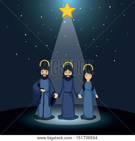 Mary joseph and jesus cartoon icon. Holy family and merry christmas season theme. Colorful design. Vector illustration